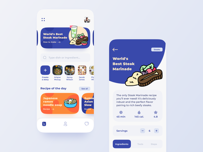 Recipe Mobile App sharing story ingredients dish recipe food app food illustrations concept ux mobile interaction android interface app ios design ui