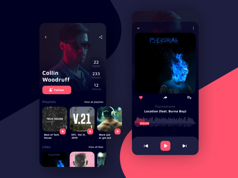 Music streaming platform dark mode dark theme dark app design song profile playlists application app audio player audio player platforms streaming music android ios design ui