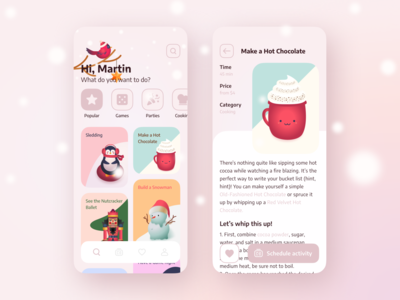 Winter bucket list. App interface concept mobile hollidays christmas new year activities list bucketlist winter app illustration android ios design ui
