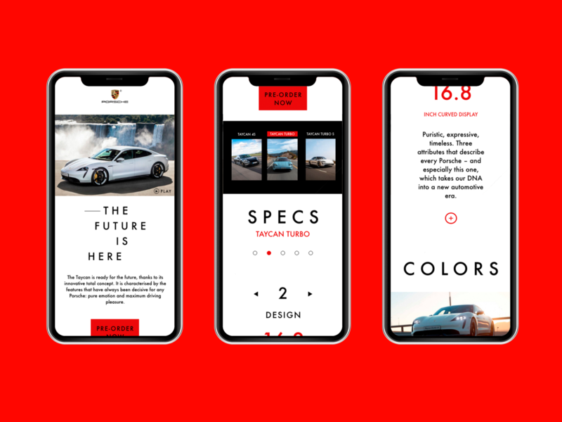 Mobile Site for Taycan design ui design mobile design mobile taycan uiux ui porsche