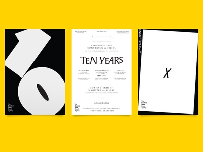 3 posters for 10 years 💛 black and white graphic bold bigt ten custom typeface type anniversary 10 years layout atlanta poster