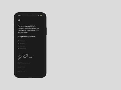 Design Portfolio Footer webflow website design digital design digital mobile footer signature web website ux ui design minimal