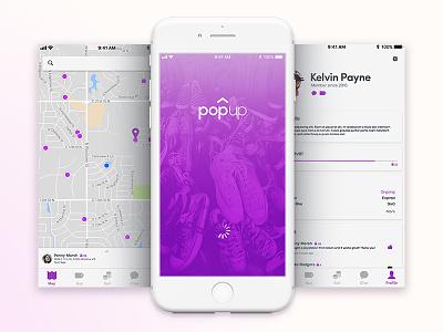 PopUp App launch profile map garage sale iphone ux ui app