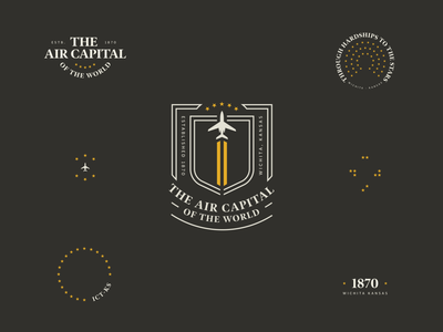 The Air Capital of the World - Wichita Kansas seal airforce midwest crest patch logo typogaphy stars plane kansas wichita badge