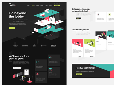 Traction Guest - Homepage design minimalistic visitor management office dark ui isometric illustration 3d colorful branding web design
