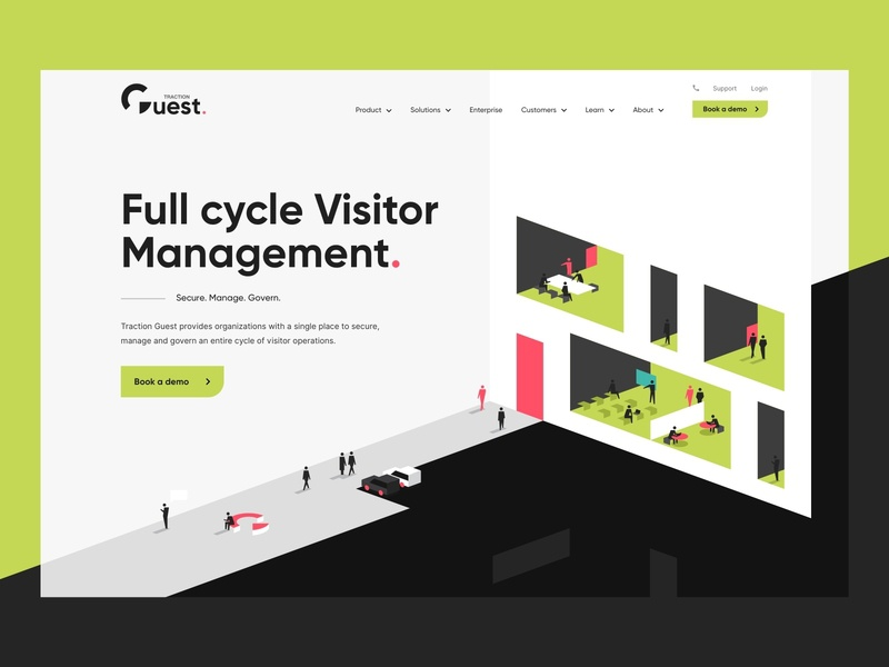Visitor management illustration - Traction Guest landing visitor management office web design formfrom branding business 3d isometric characters people illustration