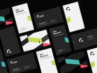 Traction Guest - Business cards isometric minimal modern formfrom black dark branding pattern design logo business card