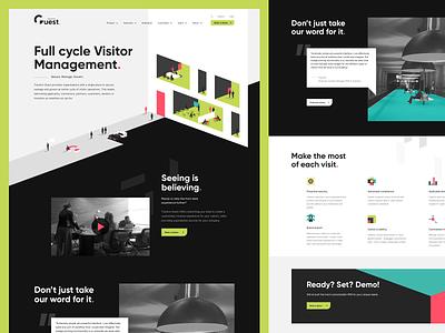Visitor management page - Traction Guest registration web design technology office management visitor branding ui website isometric illustration