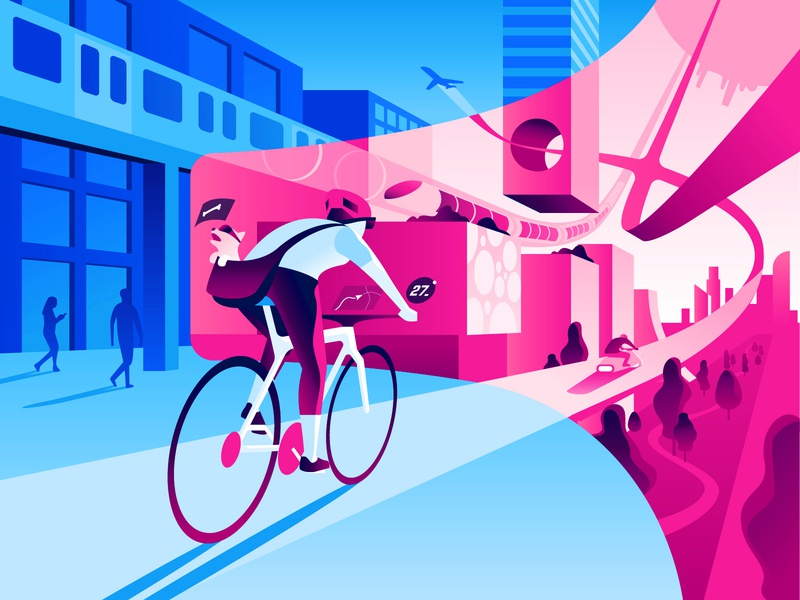 Augmented Reality ar glasses ar vr smart city 3d vector colorful illustration technology futuristic city cyclist reality augmented