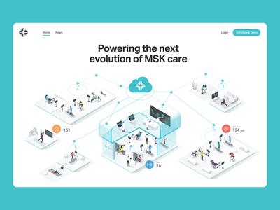 IncludeHealth - Website Illustration virtual care patient healthcare characters people isometric illustration dmit