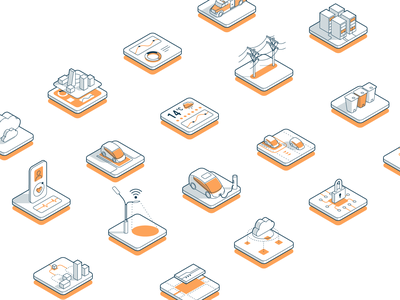 Smart Infrastructure - Iconography smart smart city city infrastructure iconography isometric icon 3d