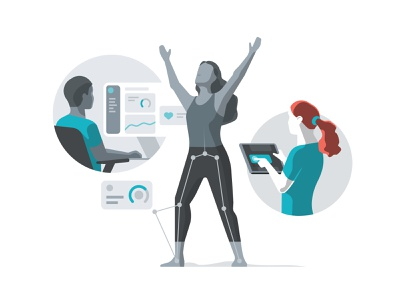 Illustration - Virtual Physiotherapy physiotherapy medical healthcare virtual therapy people characters isometric illustration dmit