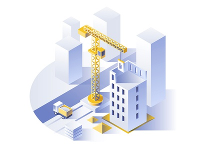 Construction of residential houses. dmit creative colors buildings isometric crane house vector construction