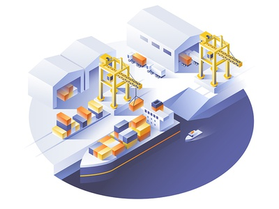 Delivery service concept. Container cargo ship loading dmit trade ship sea logistic isometric industrial delivery container concept business boat