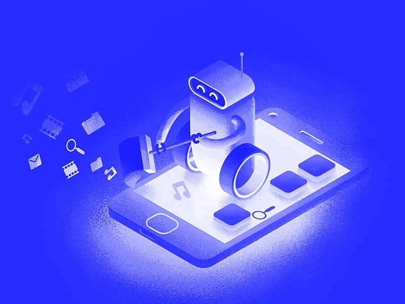 Robot cleans unnecessary apps. Security system illustration. safety isometric security guard apps android cleaner robot