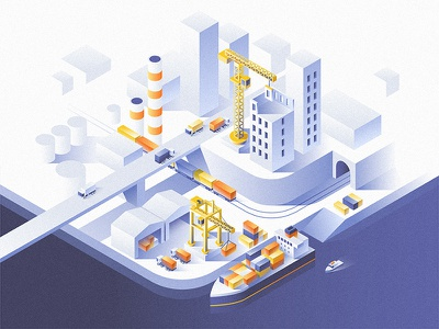 Industrial city. dmit ship construction logistic isometric industrial delivery container concept business industry