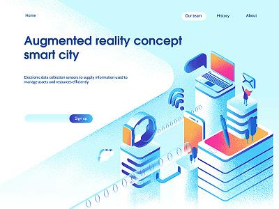 Smart city landing page concept dmit page city 3d web laptop isometric devices technology apps smart