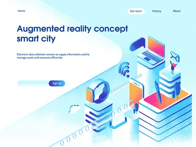 Smart city landing page concept dmit page city 3d web laptop isometric devices technology apps smart