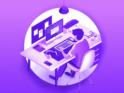 Day full of working routine dmit color brainstorming business concept graphic illustration work computer creative isometric