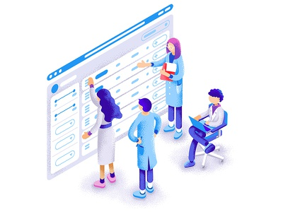 Scientists doing scientific things dmit brainstorming platform illustration header scientists isometric learning people science