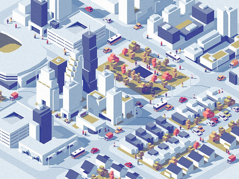 Downtown dmitrii-kharchenko low-poly urban traffic street set isometric downtown city architecture