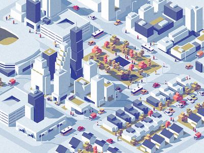Downtown dmitrii-kharchenko low-poly urban traffic street set isometric downtown city architecture