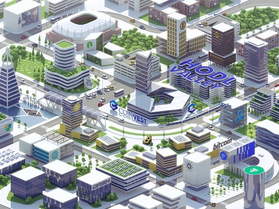 HODL valley dmit site isometric bitcoin city interface design valley crypto downtown