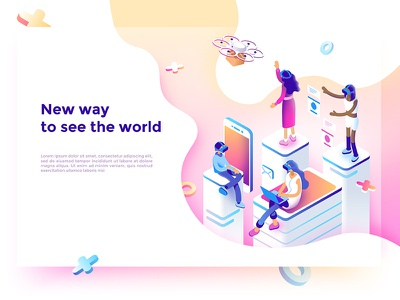 Virtual reality 2 dmit isometric entertaining learning games people glasses reality augmented virtual