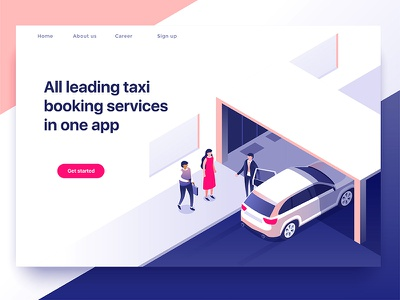 Taxi service dmit illustration people car service customer isometric taxi booking
