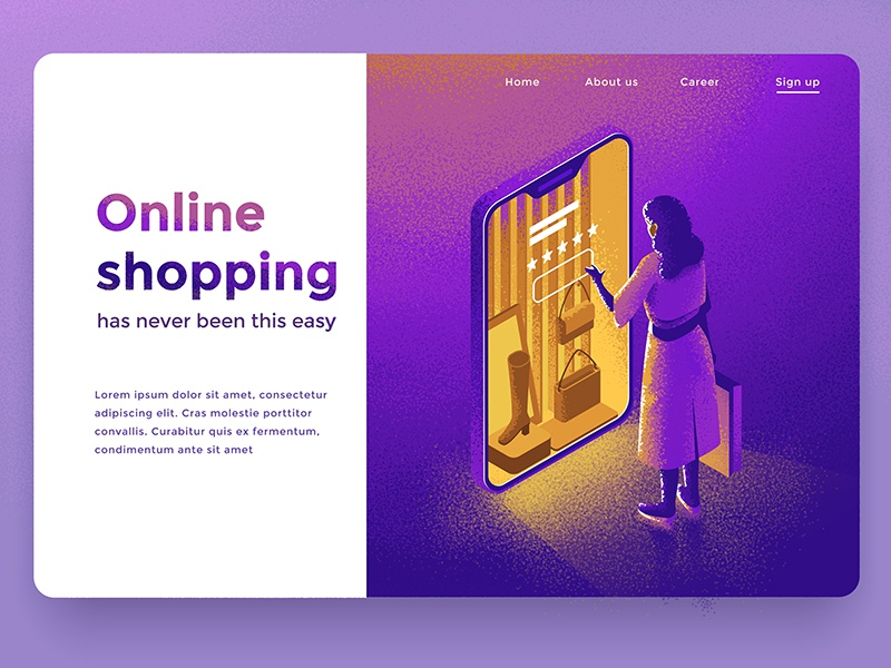 Online shopping dmit illustration design character smartphone people isometric shopping online