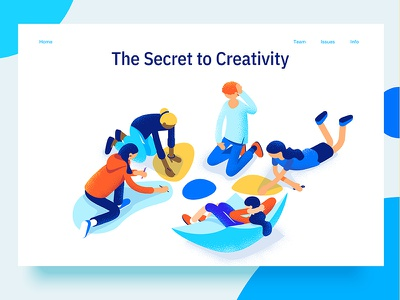 Teamwork and Creativity dmit colorful isometric characters people teenagers brainstorming teamwork creativity