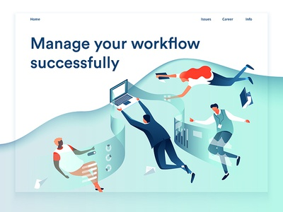 Workflow teamwork dmit colourful characters workflow page design team people