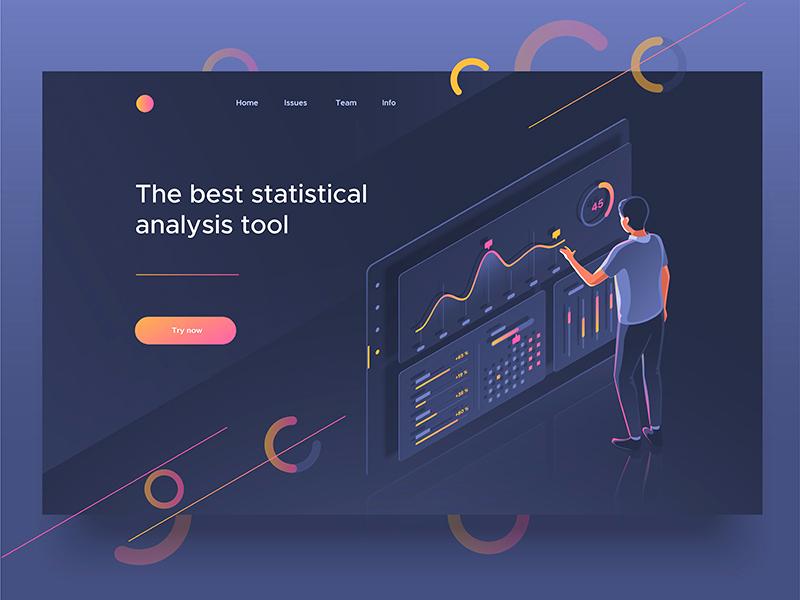 Analysis tool page landing dashboard people 3d illustration isometric control analysis statistics