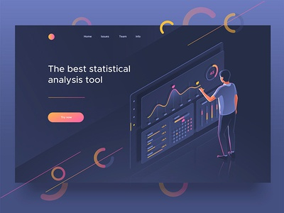 Analysis tool page landing dashboard people 3d illustration isometric control analysis statistics