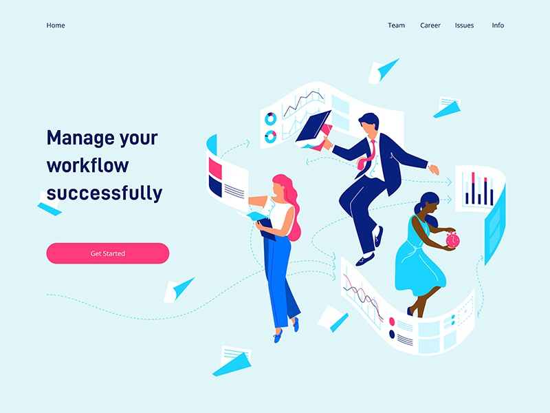 Flow dudes people characters landing page illustration working collaboration