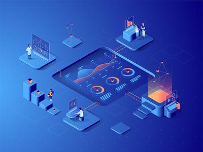 Isometric data analysis concept
