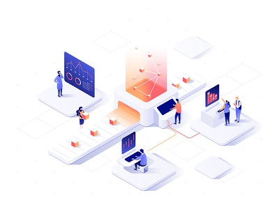 Isometric data concept v2 people isometric illustration dudes dmit diagram data collaboration characters 3d