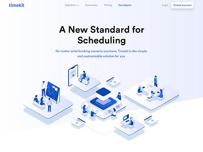 Timekit illustration saas people app booking team scheduling management time illustration isometric