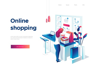 Online shopping purchase plant 3d illustration unpacking laptop shopping online character