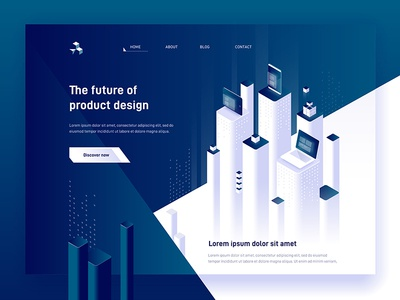 Page concept digital product landing dmit header futuristic devices web page design 3d illustraion isometric