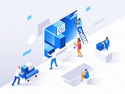 Isometric website constructor ui people dmit 3d visual design characters website isometric illustration
