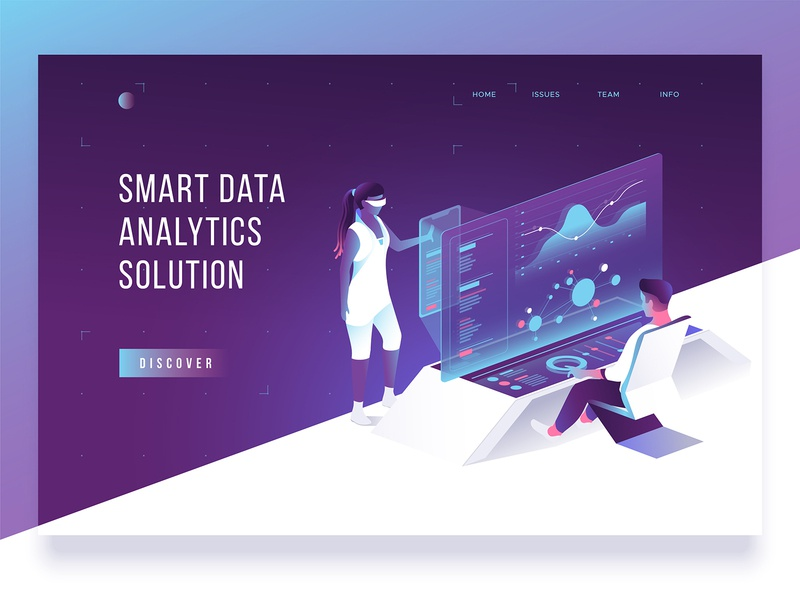 Header concept smart analitycs creative header illustration computer collaboration concept landing 3d characters design isometric people dmit