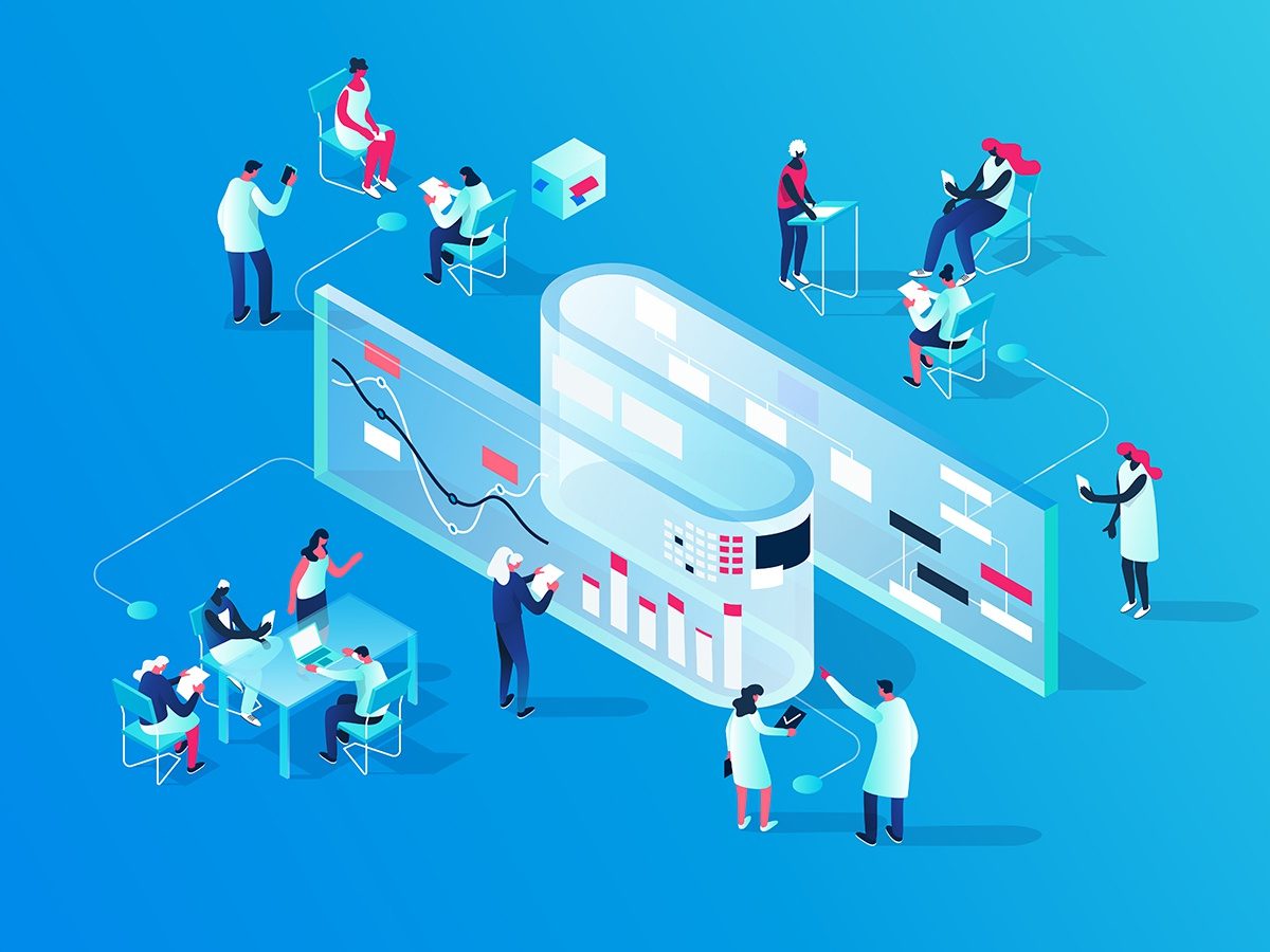Research Center concept illustration collaboration scientists characters colorful blue research 3d isometric people