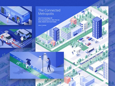 The Connected City - The Washington Post Brand Studio 5g internet 3d technology transport building isometric design article connected people smart city
