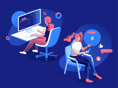 Girls doing stuff characters vector dmit design concept isometric work illustration people