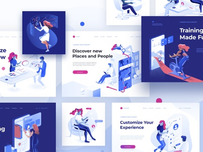 Isometric Set - People data collaboration dmit vector creative page landing concept 3d characters illustration isometric people