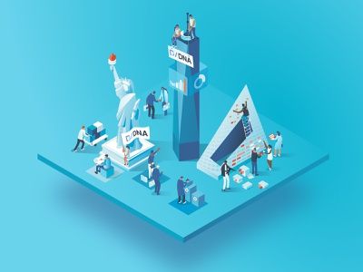 Daw Jones DNA event | New York city business analysis data collaboration 3d characters illustration isometric dmit