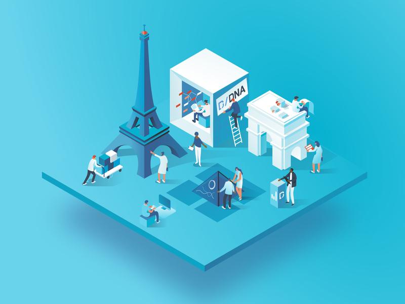 Daw Jones DNA event | Paris cities event analysis data collaboration characters illustration dmit paris