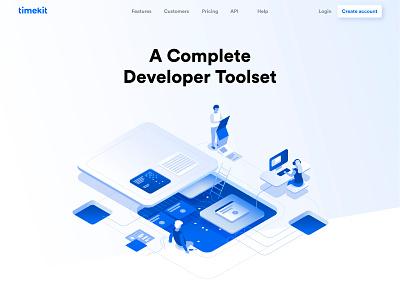 Developer Toolset developement tool scheduling time team gradient isometric illustration booking app