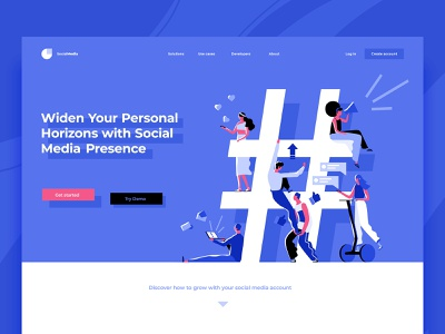 Shades of Social Media header design landing concept flat dmit vector likes messenger promotion hashtag social media characters people
